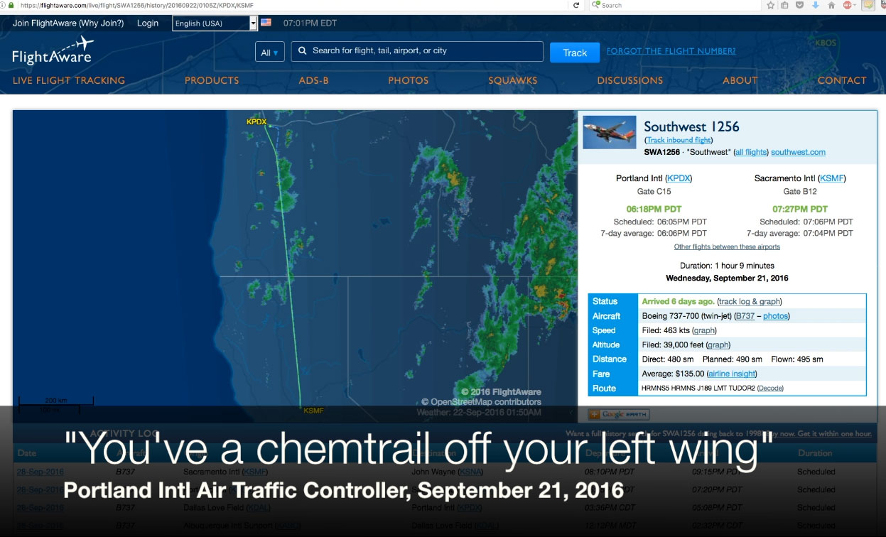 """You've a chemtrail off your left wing"" – air traffic controller"